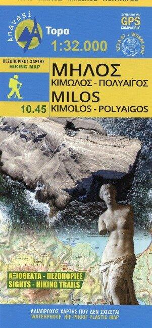 Hiking Map Wanderkarte Milos Kimolos - Polyaigos 1:32 000 -