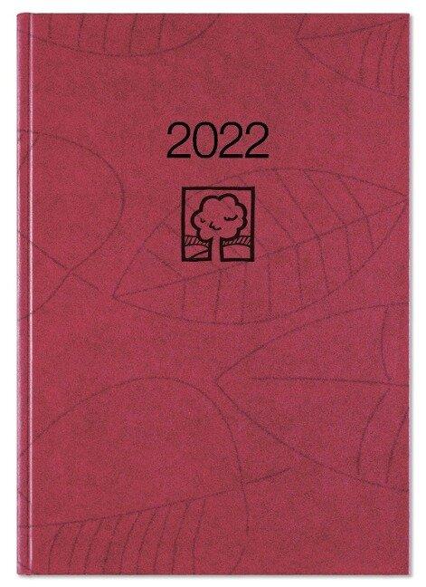 Taschenkalender weinrot 2022 - Blauer Engel - Büro-Kalender 10,2x14,2 - 1T/1S - Stundeneinteilung 7-22 Uhr - 610-0711-1 -