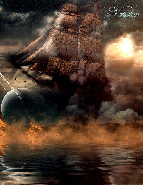 Fantasy Notizbuch: Wolkenschiff - weiße Seiten mit Eckmotiv - Samuriel Sternenfeuer