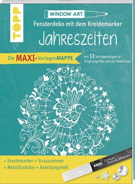 Maxi-Vorlagenmappe Fensterdeko mit dem Kreidemarker - Jahreszeiten. Inkl. Original Kreul-Kreidemarker, Sticker und Glitzer-Steinchen - Ursula Schwab