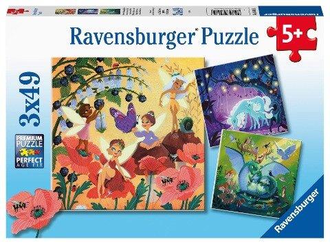 Ravensburger Kinderpuzzle 05181 - Einhorn, Drache und Fee - 3x49 Teile Puzzle für Kinder ab 5 Jahren -
