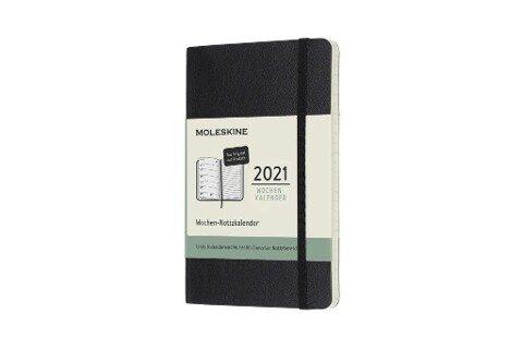 Moleskine 12 Monate Wochen Notizkalender Deutsch 2021 Pocket/A6, 1 Wo = 1 Seite, rechts linierte Seite, Weicher Einband, Schwarz -