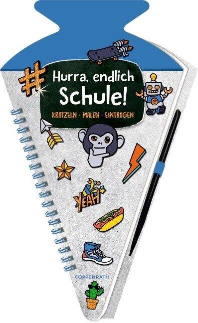 Schultüten-Kratzelbuch - Funny Patches - Hurra, endlich Schule! (blau) -