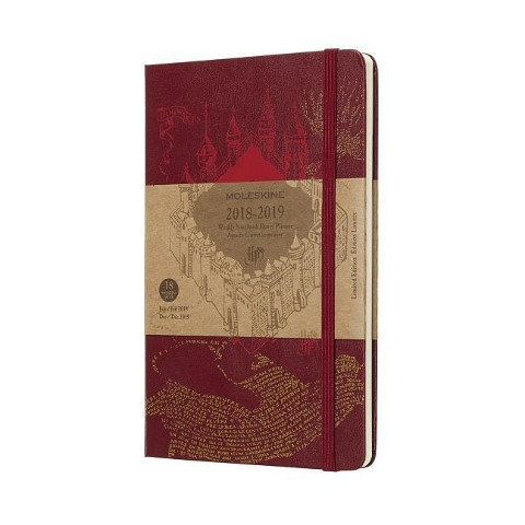 Moleskine Wochen Notizkalender, Harry Potter, 18 Monate, 2018/2019, Large/A5, Hard Cover, Rot -