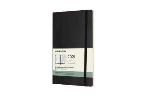 Moleskine 12 Monate Wochen Notizkalender 2021 Large/A5, 1 Wo = 1 Seite, rechts linierte Seite, Weicher Einband, Schwarz -