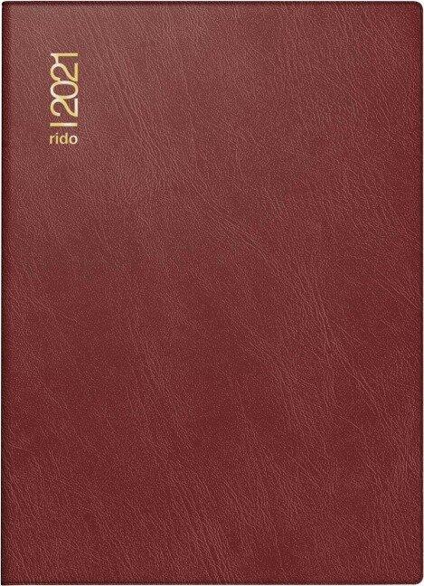 rido/idé 7018242291 Tageskalender/Taschenkalender 2021 Modell Technik III, Schaumfolien-Einband Catana, bordeaux -