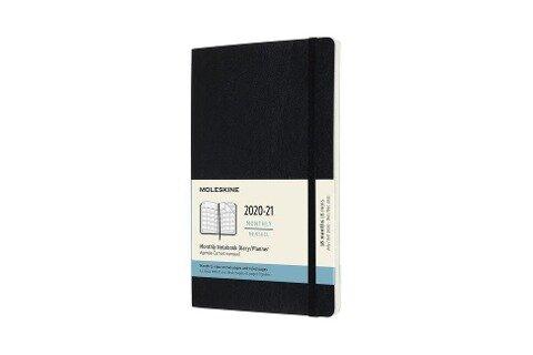 Moleskine 18 Monate Monats Notizkalender 2020/2021 Large/A5, 1 Mo = 2 Seiten, linierte Seiten, Weicher Einband, Schwarz -