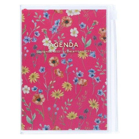 MARK'S 2021/2022 Taschenkalender A6 vertikal, Flower Pattern // Magenta -
