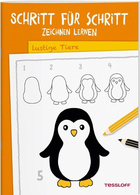 Schritt für Schritt Zeichnen lernen. Lustige Tiere -
