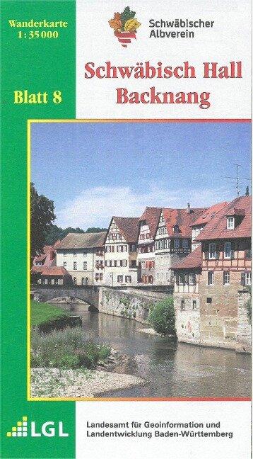 Karte des Schwäbischen Albvereins 08 Schwäbisch Hall - Backnang 1:35.000