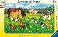 Bauernhoftiere auf der Wiese. Rahmenpuzzle 15 Teile -