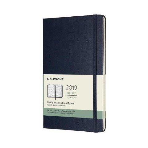 Moleskine Wochen Notizkalender, 12 Monate, 2019, Large/A5, Hard Cover, Saphir -