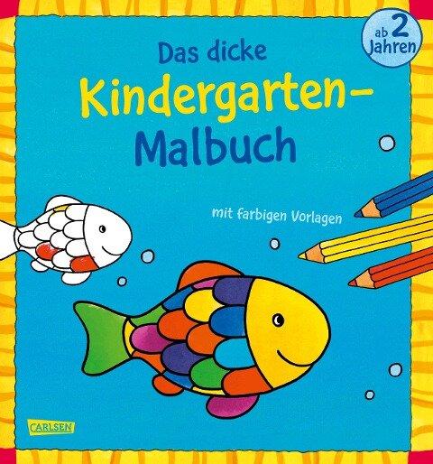 Das dicke Kindergarten-Malbuch: Mit farbigen Vorlagen und lustiger Fehlersuche -