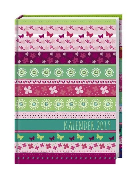 Streifen Floral Schülerkalender A6 - Kalender 2019 -