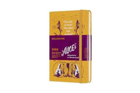 Moleskine 12 Monate Wochen Notizkalender - Alice im Wunderland 2020 Pocket/A6, 1 Wo = 1 Seite, Liniert, Fester Einband, Gelb -