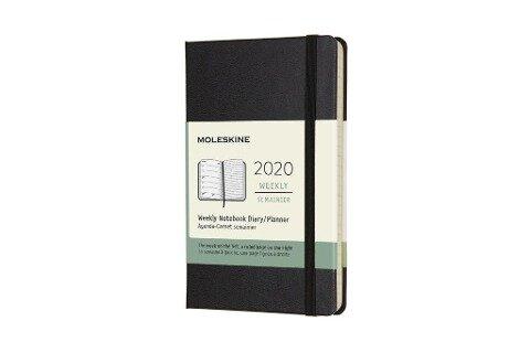 Moleskine 12 Monate Wochen Notizkalender 2020 Pocket/A6, 1 Wo = 1 Seite, Liniert, Fester Einband, Schwarz -