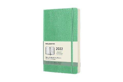 Moleskine 12 Monate Wochen Notizkalender 2022, Large/A5, 1 Wo = 1 Seite, rechts linierte Seite, Weicher Einband, Eisgrün -