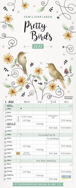 Familienplaner Pretty Birds 2022 -