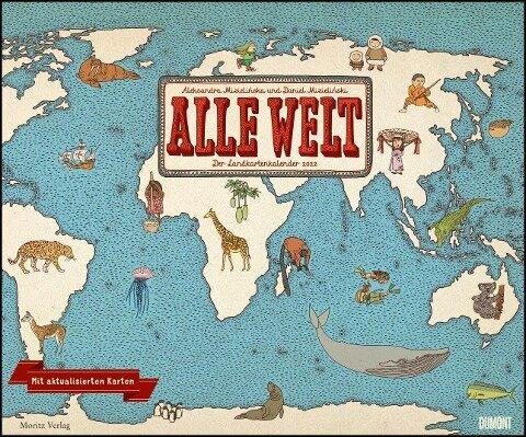 Alle Welt 2022 - Landkarten-Kalender von DUMONT- Kinder-Kalender - Querformat 58,4 x 48,5 cm -