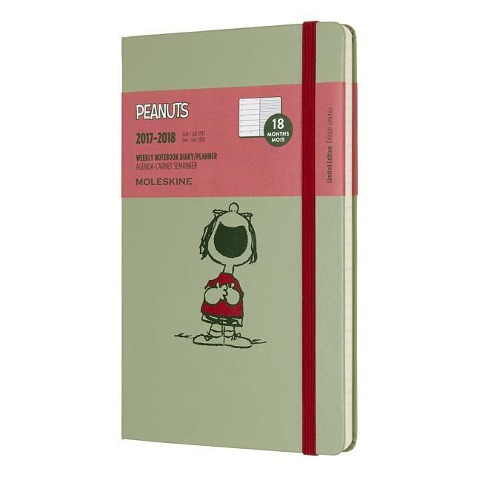 Moleskine 18 Monate Peanuts Wochen Notizkalender 2018, A5 Hard Cover, Grün -