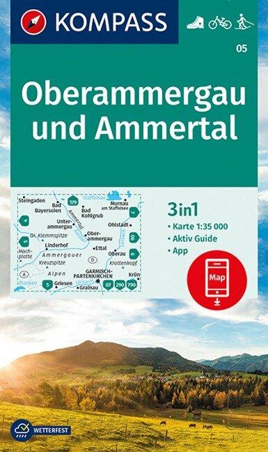 KOMPASS Wanderkarte Oberammergau und Ammertal 1:35 000