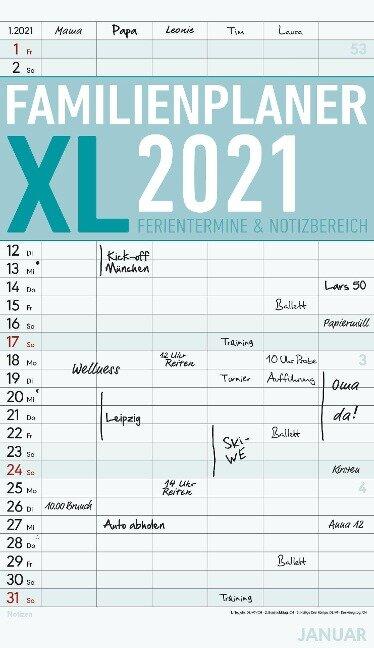 Familienplaner XL 2021 mit 6 Spalten - Offset-Papier - Familienkalender - Familientimer - Alpha Edition