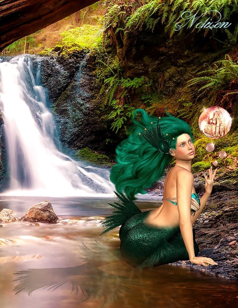 Fantasy Notizbuch: Tjirell, die Meerjungfrau - weiße Seiten mit Eckmotiv - Samuriel Sternenfeuer