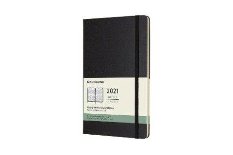 Moleskine 12 Monate Wochenkalender 2021 Large/A5, 1 Wo = 2 Seiten, Vertikal, Fester Einband, Schwarz -