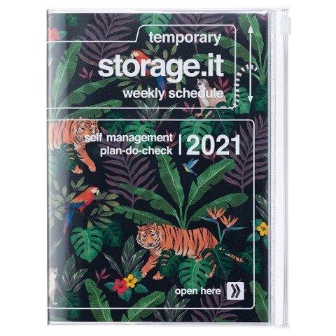 MARK'S 2020/2021 Taschenkalender A5 vertikal, Storage.it, Jungle Black. -