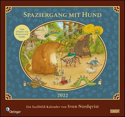 Sven Nordqvist: Spaziergang mit Hund 2022 - DUMONT Kinder-Kalender - Mit 12 Such- und Wimmelbildern - Format 38,0 x 35,5 cm -