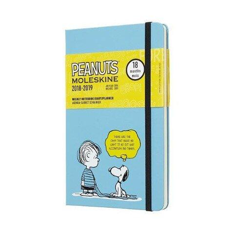 Moleskine Wochen Notizkalender, Peanuts, 18 Monate, 2018/2019, Large/A5, Hard Cover, Blau -