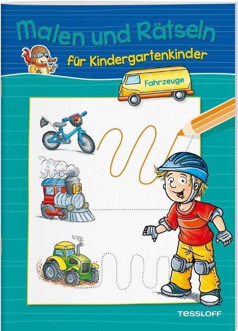 Malen und Rätseln für Kindergartenkinder. Fahrzeuge -