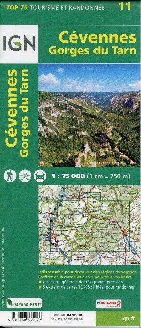 IGN 75 000 Touristische Wanderkarte 11 Cevennes - Gorges du Tarn -