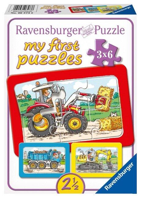 Bagger, Traktor und Kipplader. My first puzzle - Rahmenpuzzle 3 x 6 Teile -