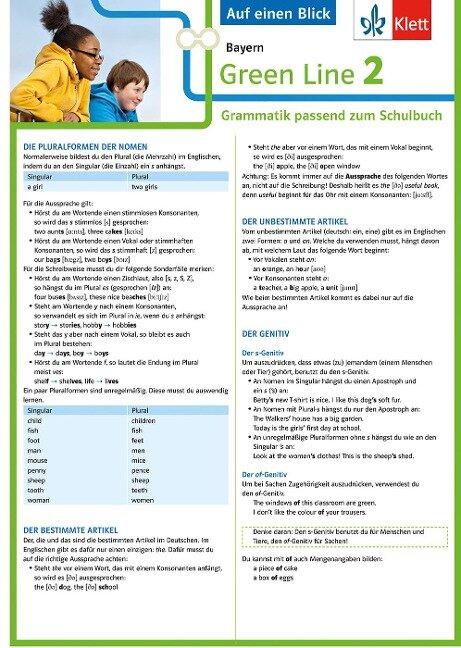 Green Line 2 Bayern Klasse 6 - Auf einen Blick. Grammatik passend zum Schulbuch - Klappkarte (6 Seiten) -