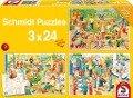 Ein Tag im Kindergarten. 3 x 24 Teile Puzzle -