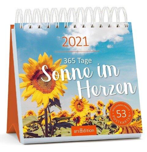 Postkartenkalender 365 Tage Sonne im Herzen 2021 - Wochenkalender mit abtrennbaren Postkarten -
