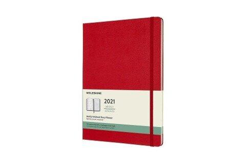 Moleskine 12 Monate Wochen Notizkalender 2021 XL, 1 Wo = 1 Seite, rechts linierte Seite, Fester Einband, Scharlachrot -