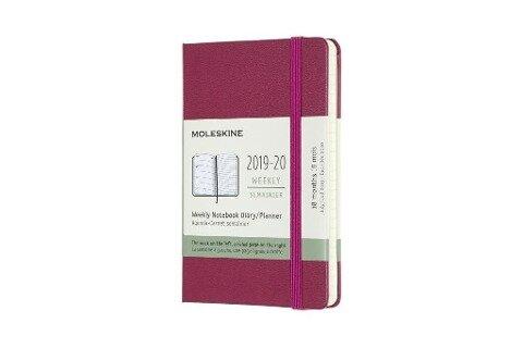Moleskine 18 Monate Wochen Notizkalender 2019/2020 Pocket/A6, 1 Wo = 1 Seite, Liniert, Fester Einband, Dunkelrosa - Moleskine