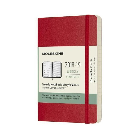 Moleskine Wochen Notizkalender, 18 Monate, 2018/2019, Pocket/A6, Soft Cover, Scharlachrot -