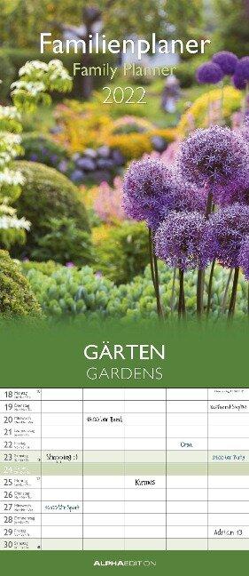 Familientermine Gärten 2022. Familienplaner - Wandkalender - Familienkalender -