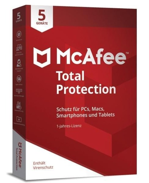 McAfee Total Protection 5 Device (Code in a Box). Für Windows 7/8/10/MAC/Android/iOs -