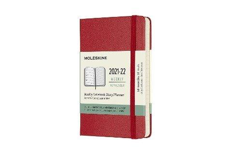 Moleskine 18 Monate Wochen Notizkalender 2021/2022, Pocket/A6, 1 Wo = 1 Seite, rechts linierte Seite, Gebunden, Scharlachrot -