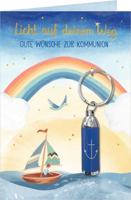 Grußkarte - Licht auf deinem Weg - Gute Wünsche zur Kommunion -