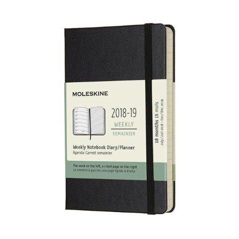 Moleskine Wochen Notizkalender, 18 Monate, 2018/2019, Pocket/A6, Hard Cover, Schwarz -