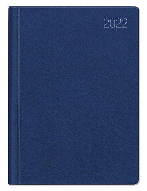 Taschenkalender blau 2022 - Büro-Kalender 10x14 - 1W/2S - flexibler Kunststoffeinband - 640-1015-1 -