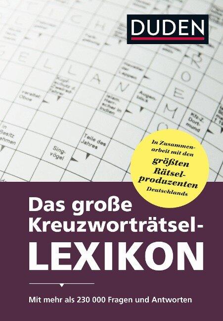 Duden - Das große Kreuzworträtsel-Lexikon - Dudenredaktion