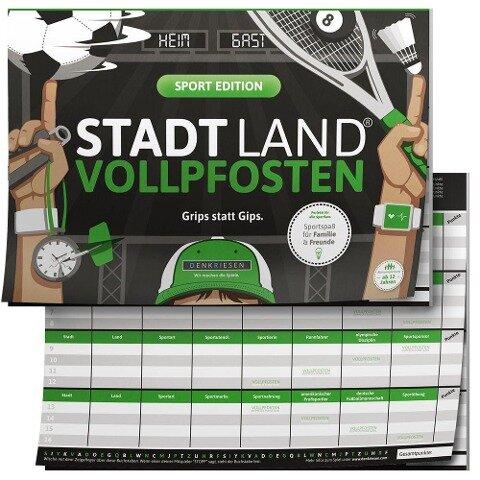 "STADT LAND VOLLPFOSTEN® - SPORT EDITION ""Grips statt Gips."" STADT LAND FLUSS SPIELBLOCK -"