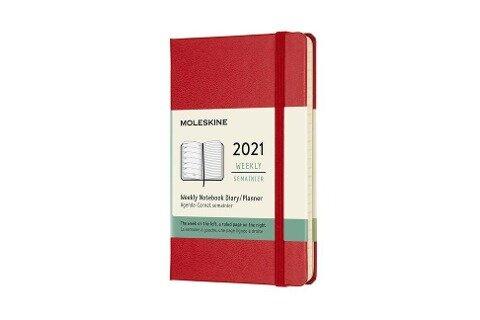 Moleskine 12 Monate Wochen Notizkalender 2021 Pocket/A6, 1 Wo = 1 Seite, rechts linierte Seite, Fester Einband, Scharlachrot -