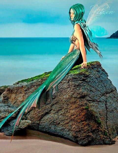 Fantasy Notizbuch: Elandra, die Meerjungfrau - weiße Seiten mit Eckmotiv - Samuriel Sternenfeuer